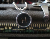 VINTAGE TYPEWRITER KEY NECKLACE - H - Free Gift Bag Included
