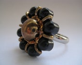 Vintage Black and Gold Button Ring