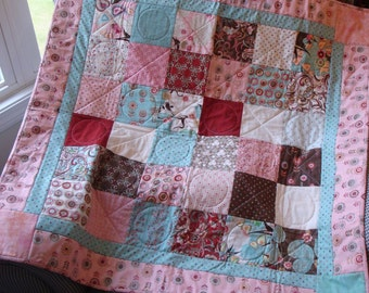 Blush Handmade Lap Quilt - Pinks, Aquas, Whites, Browns and Red