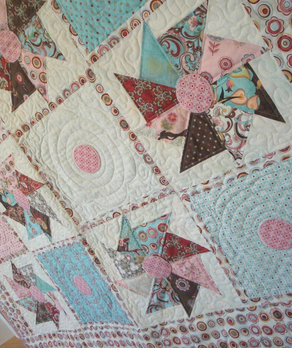 Blush Polka Dots and Pinwheels Large Lap Quilt - Pink, Turquoise, White, Chocolate Brown