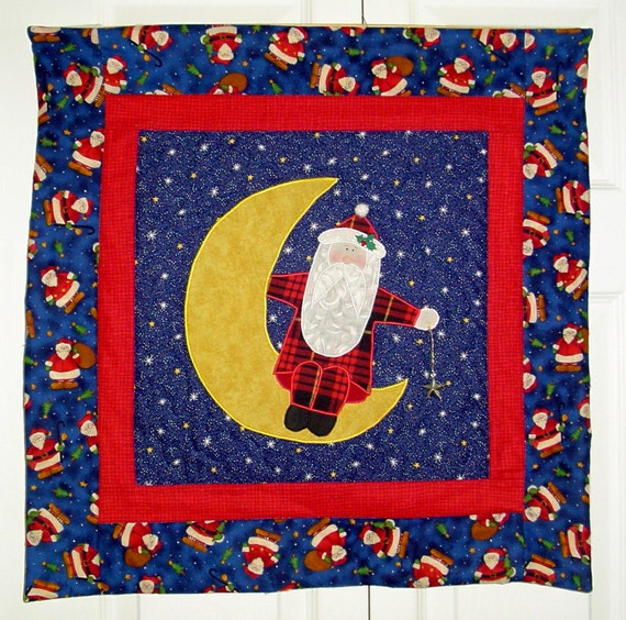 Santa in the Moon Wall Hanging Quilt Handmade Christmas Decorations