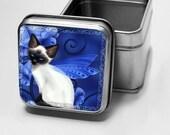 Buy four get one FREE-- Treasure Stash Trinket Tin-- Sapphire Cat