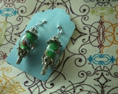 Green Pink White and Blue Glass Oval Imogene Earrings