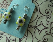White Blue and Yellow Cubed Adin Earrings