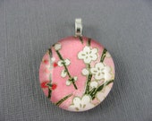 White and Red Cherry Blossom Round Glass Pendant