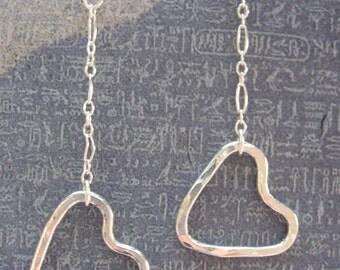 Fine Silver Swinging Heart Loop Earrings
