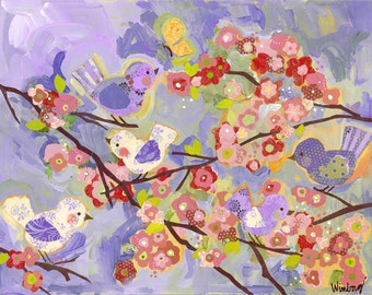 coral and lavendar cherry blossom birdies large