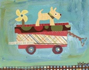 pup on wagon