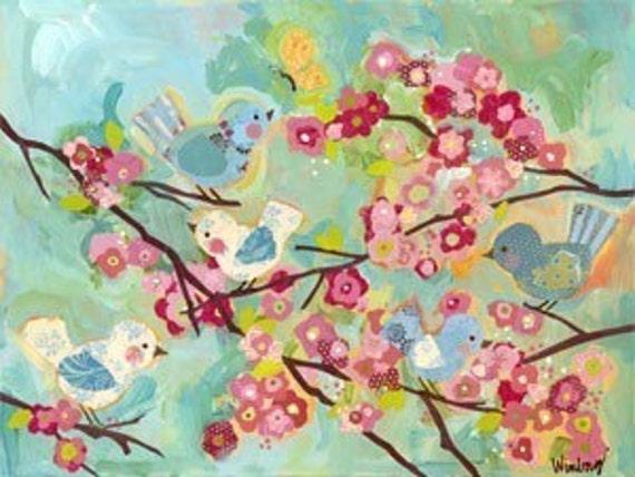 large cherry blossom birdies