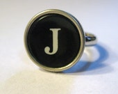 FREE SHIPPING Vintage Typewriter Ring Black and White Your Choice of Letter or Number