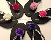 Bridesmaid Black Flip Flops,Flower Beach Wedding, Bridal Flip Flops U Pick Color