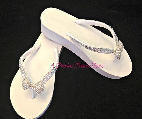 WEDGE White Bridal Flip Flops Rhinestone Bow Womens Wedding Bridesmaid Prom Beach Bling  Crystal Embellishment