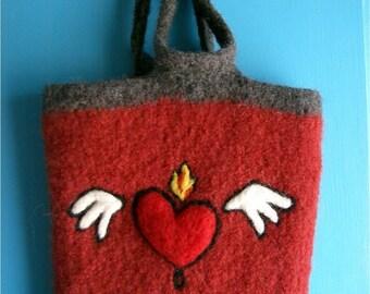 Burning Love Felted Wool Bag