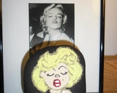 Marilyn Monroe Caricature Painted Rock Art