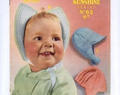 1950s Three Baby's Bonnets PDF Vintage Knitting Pattern 124