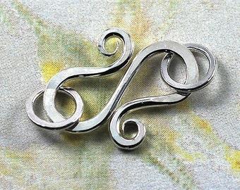 Handmade Silver S Hook Clasp with Jumprings - 18 gauge