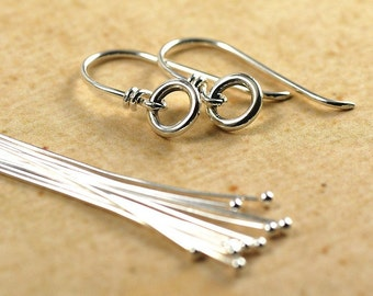 Sterling Silver Ear Wires with Small Rings and Headpins Kit
