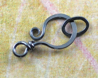 Two Oxidized Sterling Silver Clasps, Curled End - 20 gauge:  2 clasps