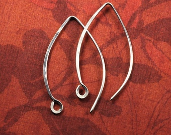 Long Sterling Silver Hammered Handmade Earwires:  6 pair