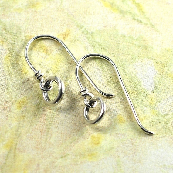Handmade Sterling Silver Ear Wires with Small Rings: 1 pair