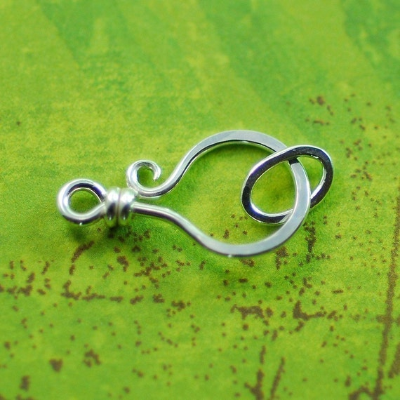 Two Sterling Silver Clasps Handmade, Curled - 20 gauge: 2 clasps