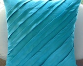 Contemporary Turquoise - Throw Pillow Covers - 16x16 Inches Suede Pillow Cover in Turquoise Blue
