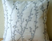 Crystal Willow - Euro Sham Covers - 26x26 Inches Silk Euro Sham Cover with Embroidery and Crystals