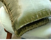 Olive Shimmer - Euro Sham Covers - 26x26 Inches Velvet Euro Sham Cover in Olive Green with a Handmade Beaded Border