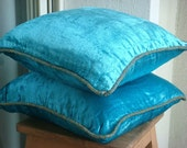 Decorative Throw Pillow Covers Accent Pillow Couch Pillow Bed Pillow Sofa Pillow 20x20 Velvet Pillow Case with Bead Cord Turquoise Shimmer