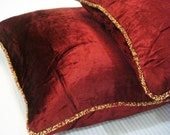 Maroon Shimmer - Euro Sham Covers - 26x26 Inches Euro Sham Cover in Maroon Velvet with a beaded border