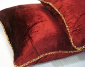 Decorative Throw Pillow Covers Accent Pillow Couch Pillow Bed Toss Sofa Pillow 18x18 Maroon Velvet Pillow Case with Bead Cord Maroon Shimmer