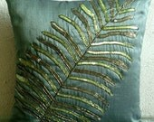 Decorative Throw Pillow Covers 16x16 Inches Green Silk Couch Sofa Bed Toss Accent Pillow Cover Embroidered Home Living Decor Floating Leaf