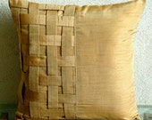 Decorative Throw Pillow Covers Couch Pillow Sofa 18x18 Gold Brown Silk Pillow Cover with Basket Weave Gold Brown Bricks Home Living Decor