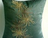 "Luxury  Dark Green Throw Pillows Cover, Botanical Pillows Cover Square  18""x18"" Silk Pillowcase - Green Foliage"