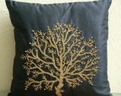 Celebrated Tree - Pillow Sham Covers - 24x24 Inches Silk Pillow Sham Cover with Bead Embroidery