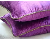 Purple Shimmer - Euro Sham Covers - 26x26 Inches Velvet Euro Sham Cover with a handmade beaded border