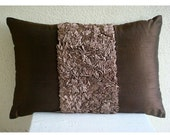 Decorative Oblong Lumbar Throw Pillow Cover Accent Pillow Couch Sofa 12x16 Inch Brown Silk Ribbon Embroidered Home Living Chocolate Cream