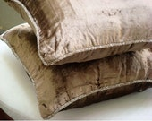 Decorative Throw Pillow Covers Accent Pillow Couch Pillow Bed Pillow Sofa Pillow 20x20 Choc Velvet Pillow Case with Bead Cord Choco Shimmer