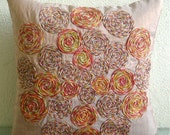 """Designer Light Rust Pillows Cover, 16""""x16"""" Silk Pillows Cover, Square  Colorful Spiral Jute Pillows Cover - Spring Dance"""