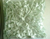 """Luxury Mint Green Throw Pillows Cover, 16""""x16"""" Satin Pillow Covers, Square  Vintage Style Ruffles Pillows Cover - Mint Green Ruffles"""