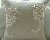 Sea Horse Pearls  - Throw Pillow Covers - 16x16 Inches Linen Pillow Cover with Pearl Embroidery