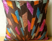 Decorative Throw Pillow Covers Accent Pillow Couch Pillow 16x16 Inch Silk Pillow Cover Embroidered Sequins Beads Splash Of Color Home Decor