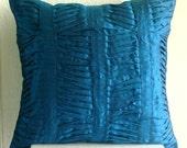 Royal Blue Crest - Euro Sham Covers - 26x26 Inches Silk Euro Sham Cover with Pintucks
