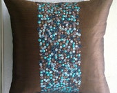 Decorative Throw Pillow Covers Accent Pillow Couch Pillow 16x16 Inch Brown Silk Pillow Cover Bead Sequins Home Decor Housewares Cocoa & Turq