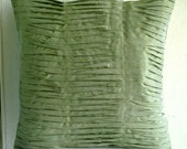 Green Waves - Pillow Sham Covers - 24x24 Inches Silk Pillow Sham Cover with Pintucks