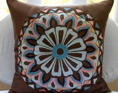 Moroccan Style - Throw Pillow Covers - 18x18 Inches Silk Pillow Cover with Embroidery
