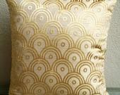 Golden Sunrise - 16 Inches Square Pillow Cover in Burnout Velvet On A Silk Slub