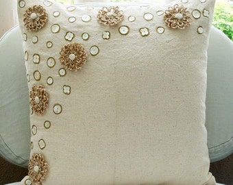 """Handmade Ecru Throw Pillows Cover, 16""""x16"""" Cotton Pillows Cover, Square  Jute Flowers Pearls Floral Theme Pillows Cover - Jute Flowers"""