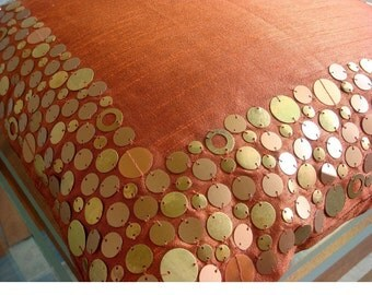 Rust Glamor - Pillow Sham - 24x24 Inches Silk Dupion Pillow Sham Cover with Sequins