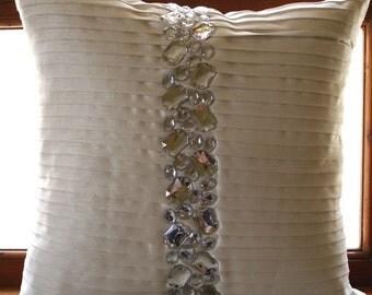 "Luxury  White Decorative Pillows Cover, Pintucks & Crystals Textured Pillows Cover Square  18""x18"" Silk Pillowcase - Precious Crystals"